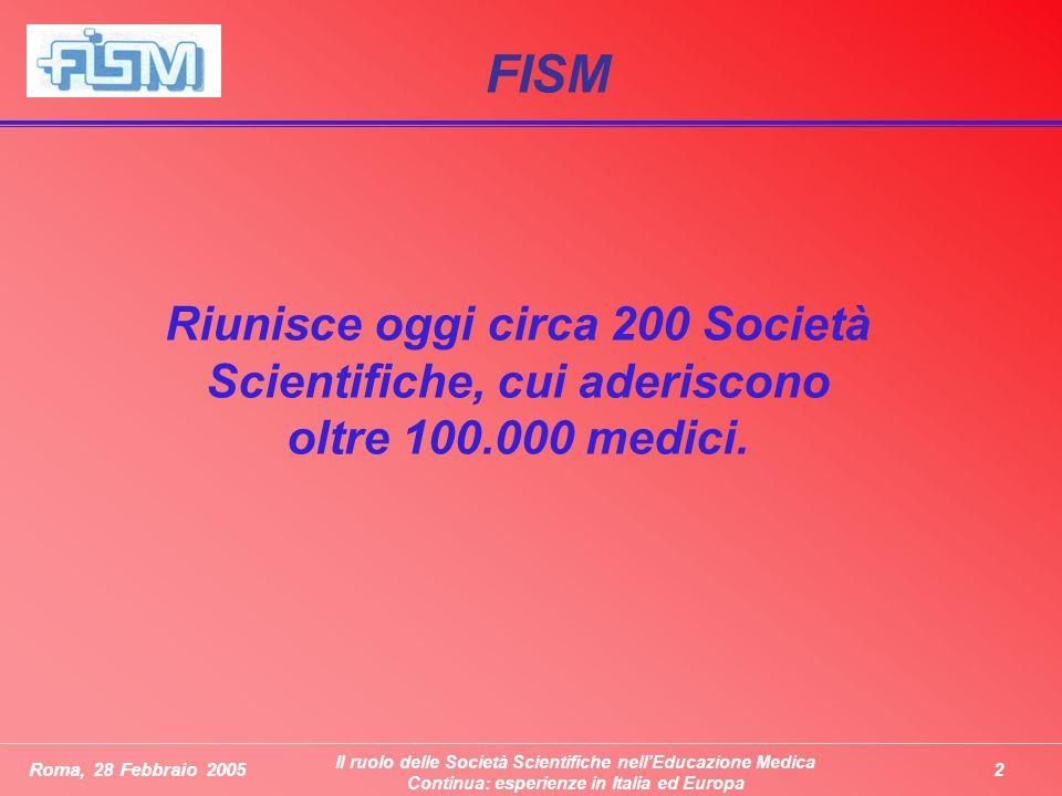 2Roma, 28 Febbraio 2005 Il ruolo delle Società Scientifiche nellEducazione Medica Continua: esperienze in Italia ed Europa FISM Riunisce oggi circa 200 Società Scientifiche, cui aderiscono oltre 100.000 medici.