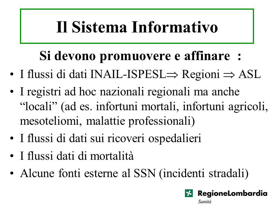 Il Sistema Informativo Si devono promuovere e affinare : I flussi di dati INAIL-ISPESL Regioni ASL I registri ad hoc nazionali regionali ma anche loca