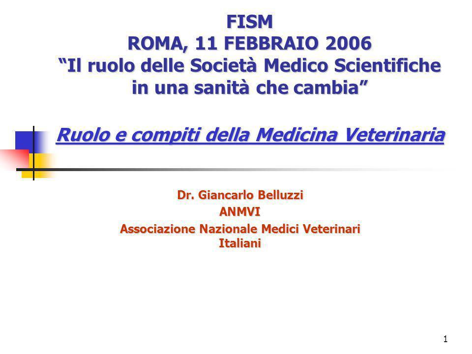 1 FISM ROMA, 11 FEBBRAIO 2006 Il ruolo delle Società Medico Scientifiche in una sanità che cambia Ruolo e compiti della Medicina Veterinaria Dr.