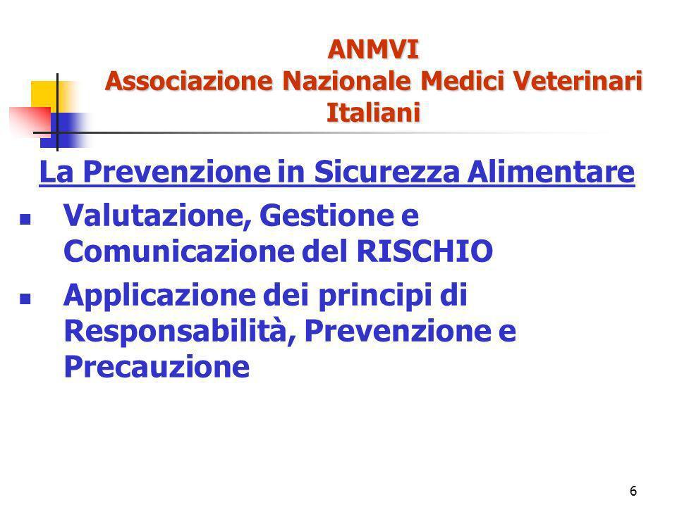 6 ANMVI Associazione Nazionale Medici Veterinari Italiani La Prevenzione in Sicurezza Alimentare Valutazione, Gestione e Comunicazione del RISCHIO Applicazione dei principi di Responsabilità, Prevenzione e Precauzione