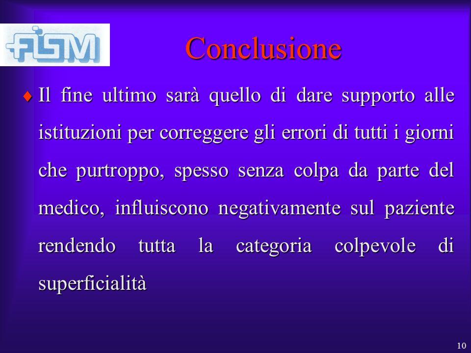 10 Conclusione Il fine ultimo sarà quello di dare supporto alle istituzioni per correggere gli errori di tutti i giorni che purtroppo, spesso senza co