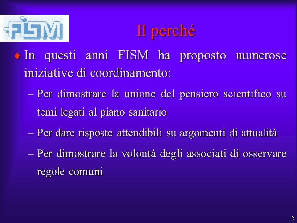2 Il perché In questi anni FISM ha proposto numerose iniziative di coordinamento: In questi anni FISM ha proposto numerose iniziative di coordinamento