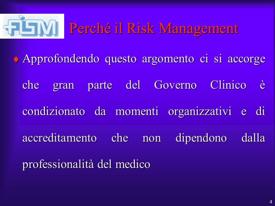 4 Perché il Risk Management Approfondendo questo argomento ci si accorge che gran parte del Governo Clinico è condizionato da momenti organizzativi e