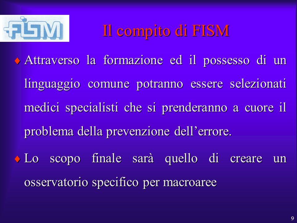 9 Il compito di FISM Attraverso la formazione ed il possesso di un linguaggio comune potranno essere selezionati medici specialisti che si prenderanno a cuore il problema della prevenzione dellerrore.