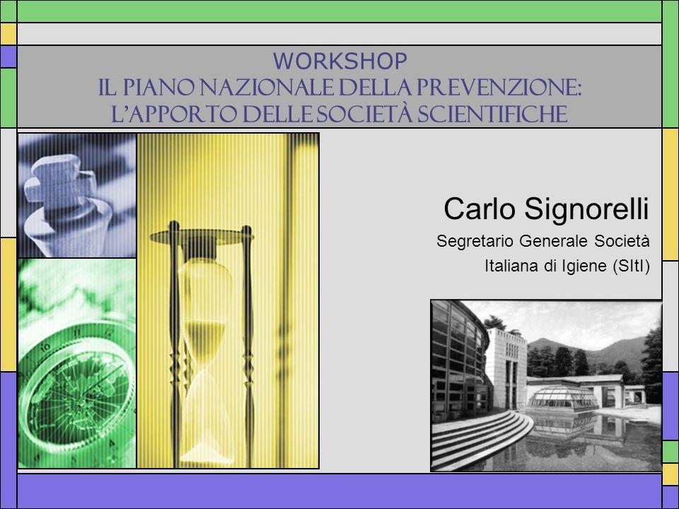 WORKSHOP IL PIANO NAZIONALE DELLA PREVENZIONE: LAPPORTO DELLE SOCIETÀ SCIENTIFICHE Carlo Signorelli Segretario Generale Società Italiana di Igiene (SI