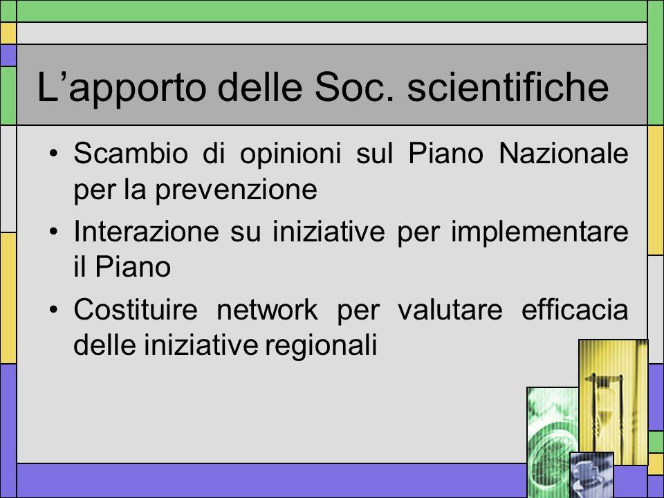 Lapporto delle Soc. scientifiche Scambio di opinioni sul Piano Nazionale per la prevenzione Interazione su iniziative per implementare il Piano Costit