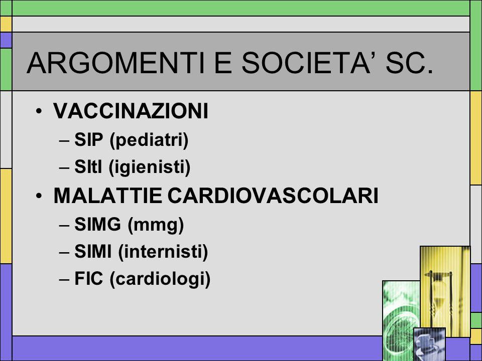 ARGOMENTI E SOCIETA SC. VACCINAZIONI –SIP (pediatri) –SItI (igienisti) MALATTIE CARDIOVASCOLARI –SIMG (mmg) –SIMI (internisti) –FIC (cardiologi)
