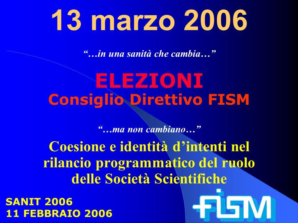 13 marzo 2006 …in una sanità che cambia… ELEZIONI Consiglio Direttivo FISM …ma non cambiano… Coesione e identità dintenti nel rilancio programmatico del ruolo delle Società Scientifiche SANIT 2006 11 FEBBRAIO 2006