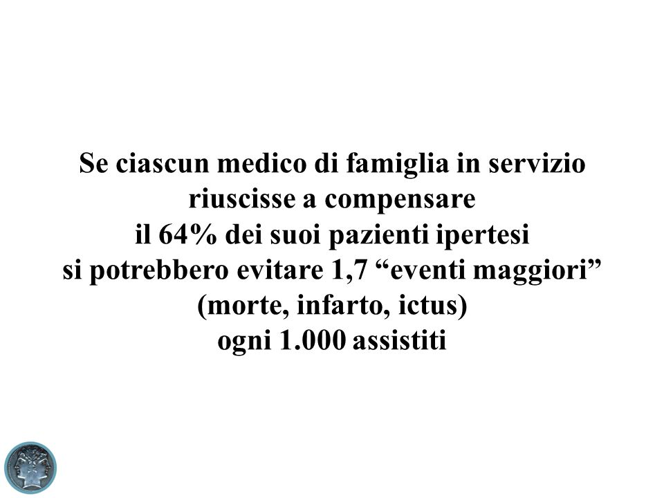 Se ciascun medico di famiglia in servizio riuscisse a compensare il 64% dei suoi pazienti ipertesi si potrebbero evitare 1,7 eventi maggiori (morte, i