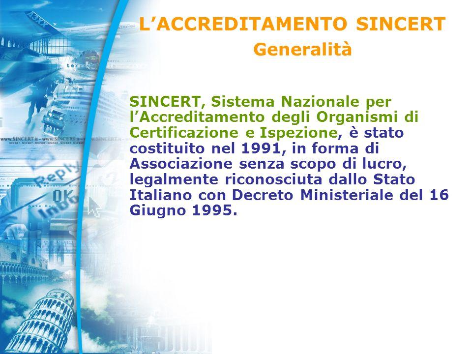 SINCERT, Sistema Nazionale per lAccreditamento degli Organismi di Certificazione e Ispezione, è stato costituito nel 1991, in forma di Associazione senza scopo di lucro, legalmente riconosciuta dallo Stato Italiano con Decreto Ministeriale del 16 Giugno 1995.