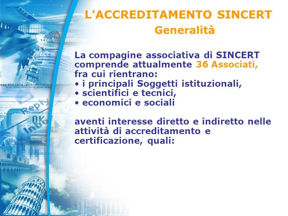 La compagine associativa di SINCERT comprende attualmente 36 Associati, fra cui rientrano: i principali Soggetti istituzionali, scientifici e tecnici, economici e sociali aventi interesse diretto e indiretto nelle attività di accreditamento e certificazione, quali: LACCREDITAMENTO SINCERT Generalità