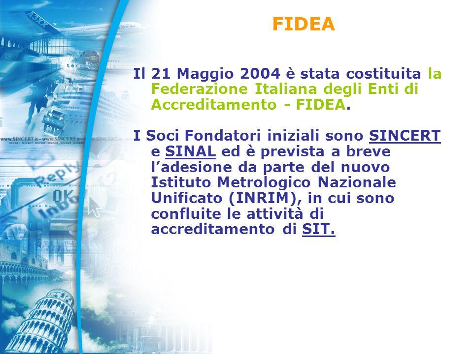 Il 21 Maggio 2004 è stata costituita la Federazione Italiana degli Enti di Accreditamento - FIDEA.