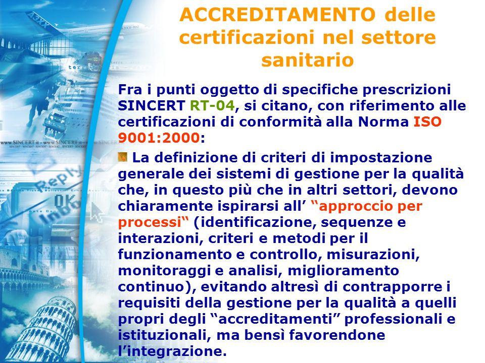 ACCREDITAMENTO delle certificazioni nel settore sanitario Fra i punti oggetto di specifiche prescrizioni SINCERT RT-04, si citano, con riferimento alle certificazioni di conformità alla Norma ISO 9001:2000: La definizione di criteri di impostazione generale dei sistemi di gestione per la qualità che, in questo più che in altri settori, devono chiaramente ispirarsi all approccio per processi (identificazione, sequenze e interazioni, criteri e metodi per il funzionamento e controllo, misurazioni, monitoraggi e analisi, miglioramento continuo), evitando altresì di contrapporre i requisiti della gestione per la qualità a quelli propri degli accreditamenti professionali e istituzionali, ma bensì favorendone lintegrazione.