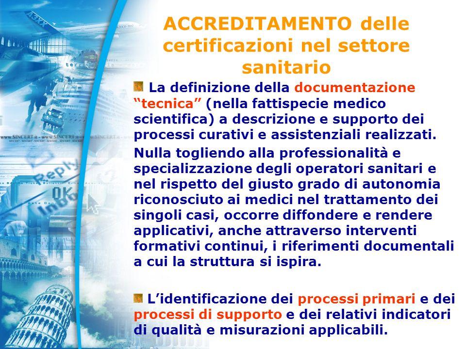 ACCREDITAMENTO delle certificazioni nel settore sanitario La definizione della documentazione tecnica (nella fattispecie medico scientifica) a descrizione e supporto dei processi curativi e assistenziali realizzati.