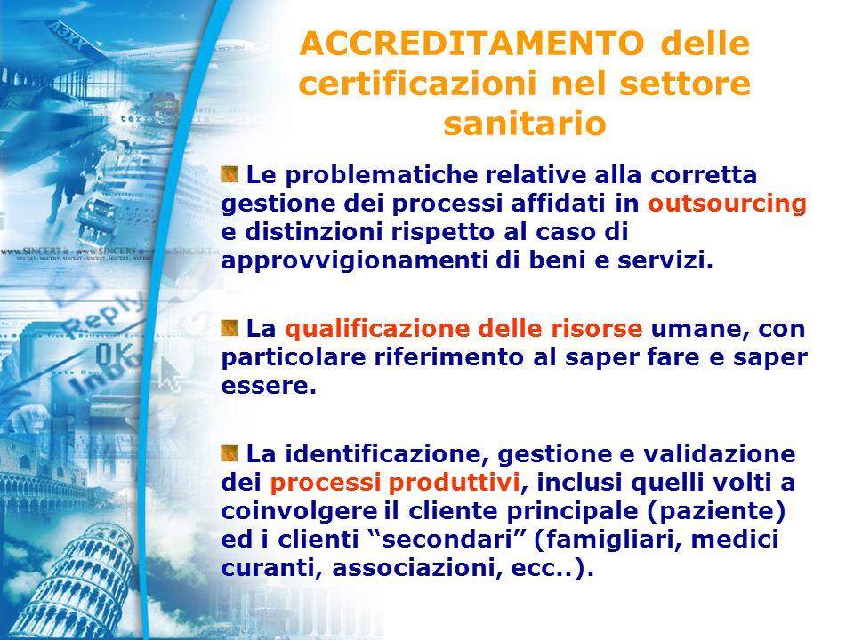 ACCREDITAMENTO delle certificazioni nel settore sanitario Le problematiche relative alla corretta gestione dei processi affidati in outsourcing e distinzioni rispetto al caso di approvvigionamenti di beni e servizi.
