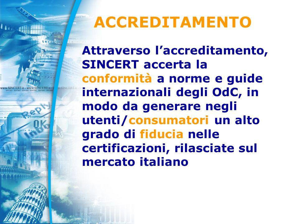 Attraverso laccreditamento, SINCERT accerta la conformità a norme e guide internazionali degli OdC, in modo da generare negli utenti/consumatori un alto grado di fiducia nelle certificazioni, rilasciate sul mercato italiano ACCREDITAMENTO