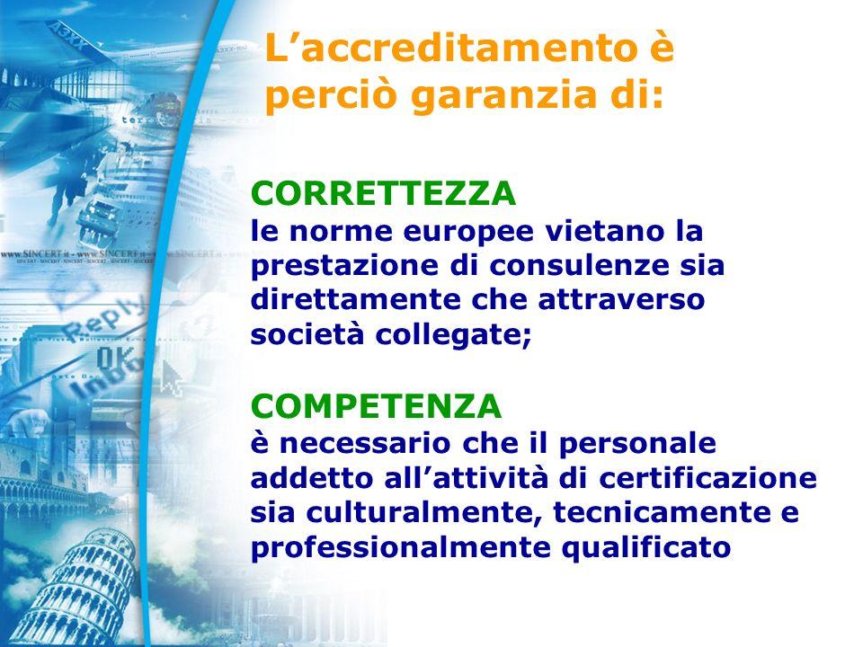 Laccreditamento è perciò garanzia di: CORRETTEZZA le norme europee vietano la prestazione di consulenze sia direttamente che attraverso società collegate; COMPETENZA è necessario che il personale addetto allattività di certificazione sia culturalmente, tecnicamente e professionalmente qualificato