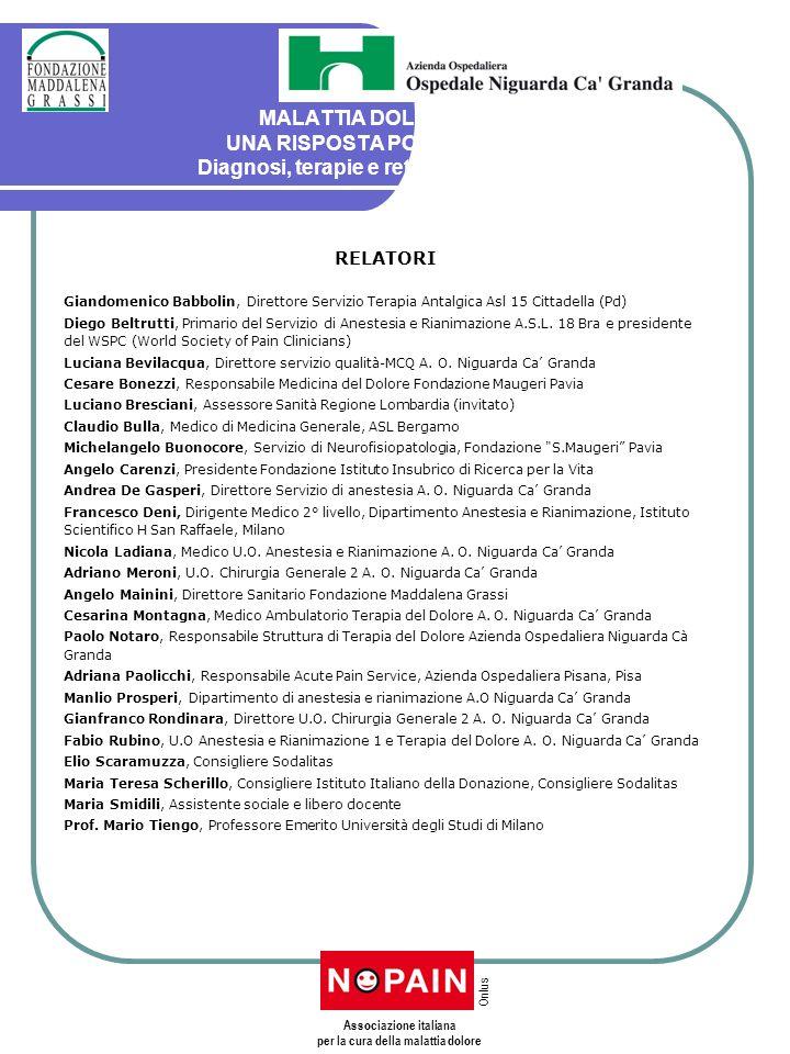 MALATTIA DOLORE: UNA RISPOSTA POSSIBILE Diagnosi, terapie e rete dei servizi RELATORI Giandomenico Babbolin, Direttore Servizio Terapia Antalgica Asl