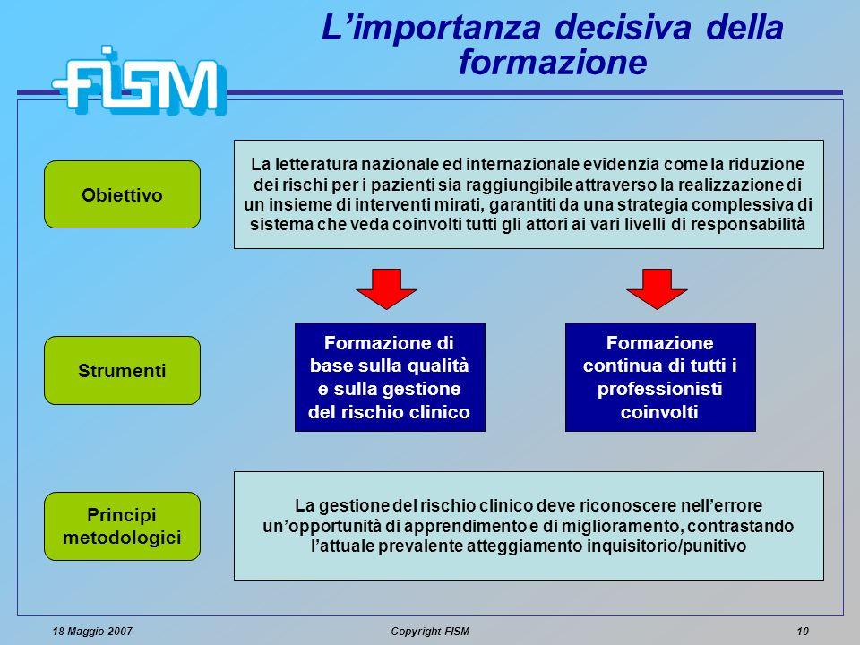 18 Maggio 2007Copyright FISM10 Limportanza decisiva della formazione La letteratura nazionale ed internazionale evidenzia come la riduzione dei rischi