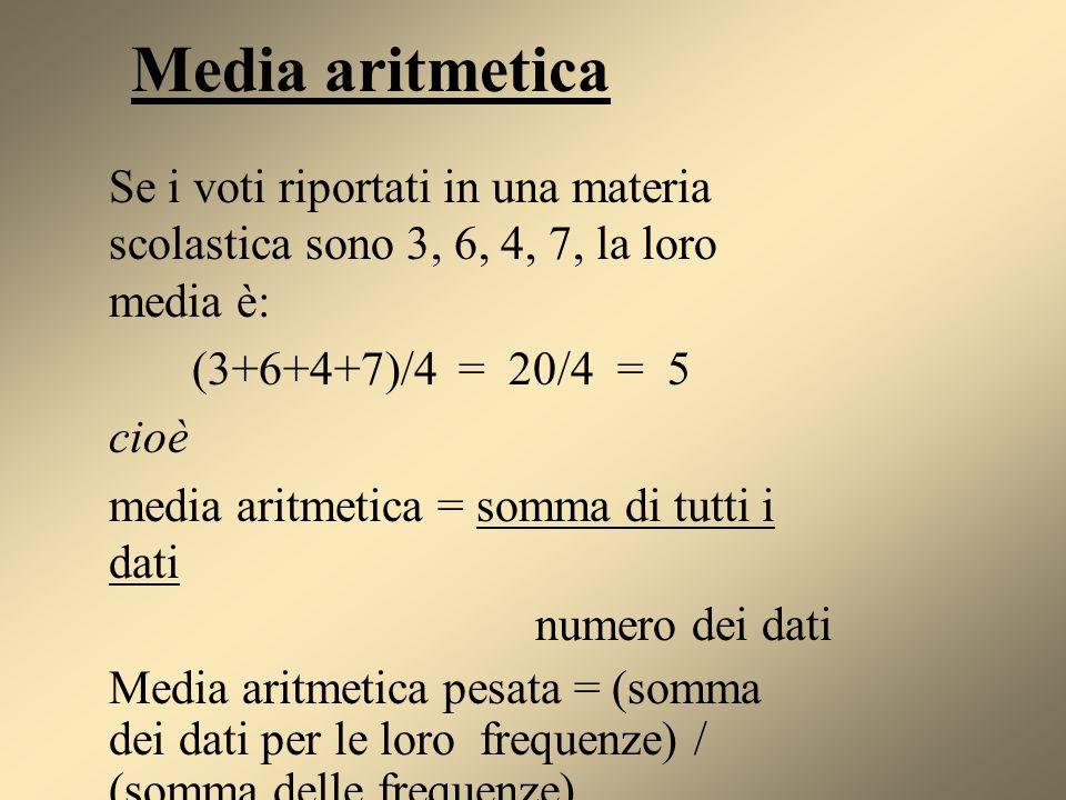 Media aritmetica Se i voti riportati in una materia scolastica sono 3, 6, 4, 7, la loro media è: (3+6+4+7)/4 = 20/4 = 5 cioè media aritmetica = somma