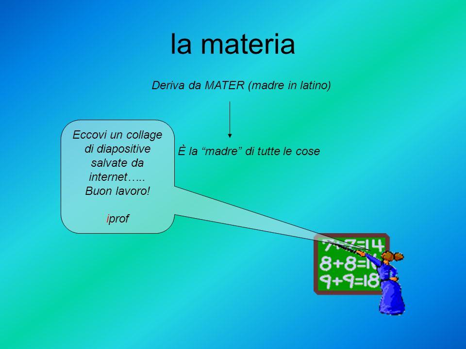 la materia Eccovi un collage di diapositive salvate da internet….. Buon lavoro! iprof Deriva da MATER (madre in latino) È la madre di tutte le cose