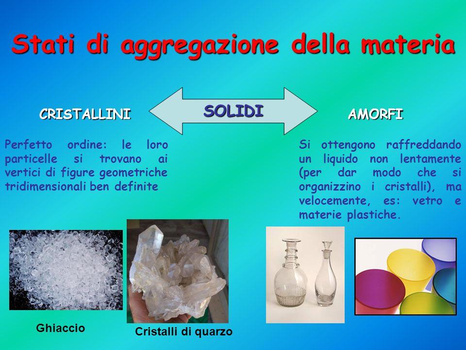 Stati di aggregazione della materia SOLIDI CRISTALLINIAMORFI Perfetto ordine: le loro particelle si trovano ai vertici di figure geometriche tridimens