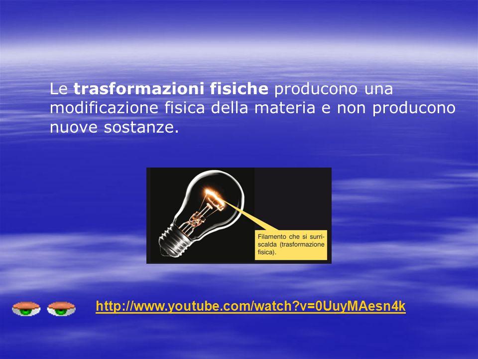 Le trasformazioni fisiche producono una modificazione fisica della materia e non producono nuove sostanze. http://www.youtube.com/watch?v=0UuyMAesn4k