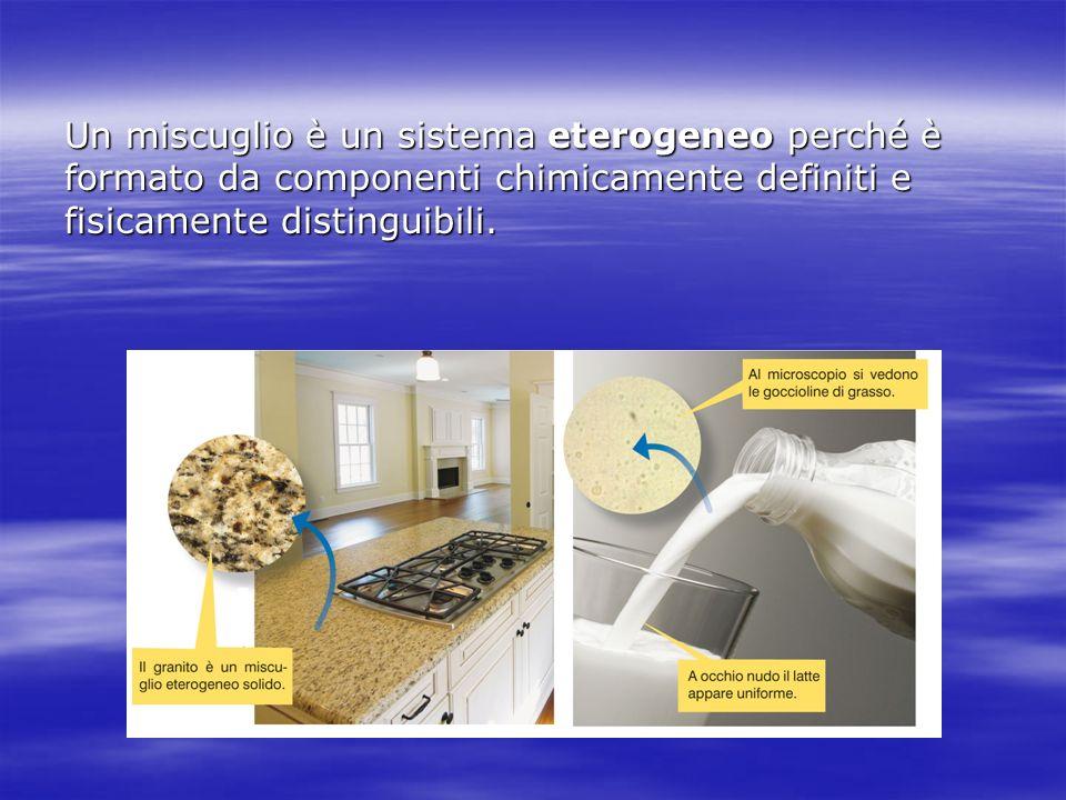 Un miscuglio è un sistema eterogeneo perché è formato da componenti chimicamente definiti e fisicamente distinguibili.