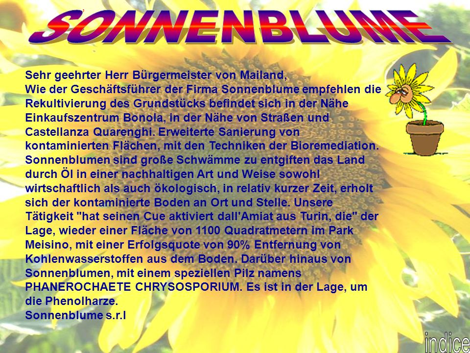 Sehr geehrter Herr Bürgermeister von Mailand, Wie der Geschäftsführer der Firma Sonnenblume empfehlen die Rekultivierung des Grundstücks befindet sich