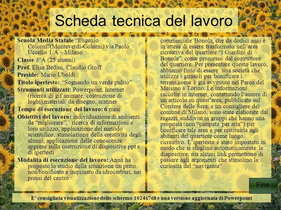 Scheda tecnica del lavoro Scuola Media Statale Eugenio Colorni(Monteverdi-Colorni) via Paolo Uccello 1/A – Milano Classe 3°A (25 alunni) Prof. Elisa B