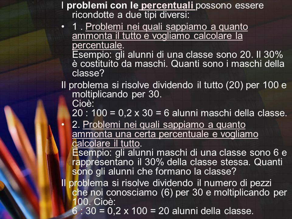 I problemi con le percentuali possono essere ricondotte a due tipi diversi: percentuali 1. Problemi nei quali sappiamo a quanto ammonta il tutto e vog