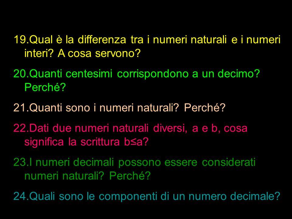 19.Qual è la differenza tra i numeri naturali e i numeri interi? A cosa servono? 20.Quanti centesimi corrispondono a un decimo? Perché? 21.Quanti sono