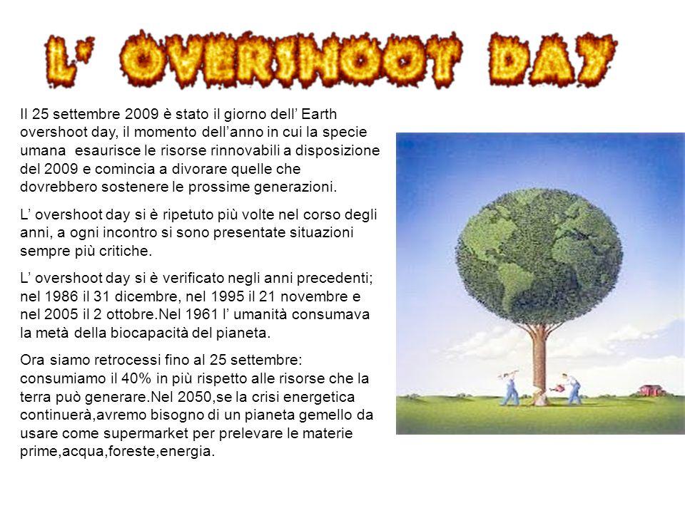 Il 25 settembre 2009 è stato il giorno dell Earth overshoot day, il momento dellanno in cui la specie umana esaurisce le risorse rinnovabili a disposi