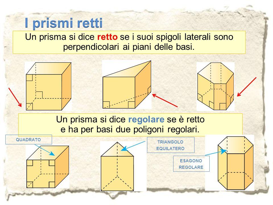 Un prisma si dice retto se i suoi spigoli laterali sono perpendicolari ai piani delle basi. Un prisma si dice regolare se è retto e ha per basi due po