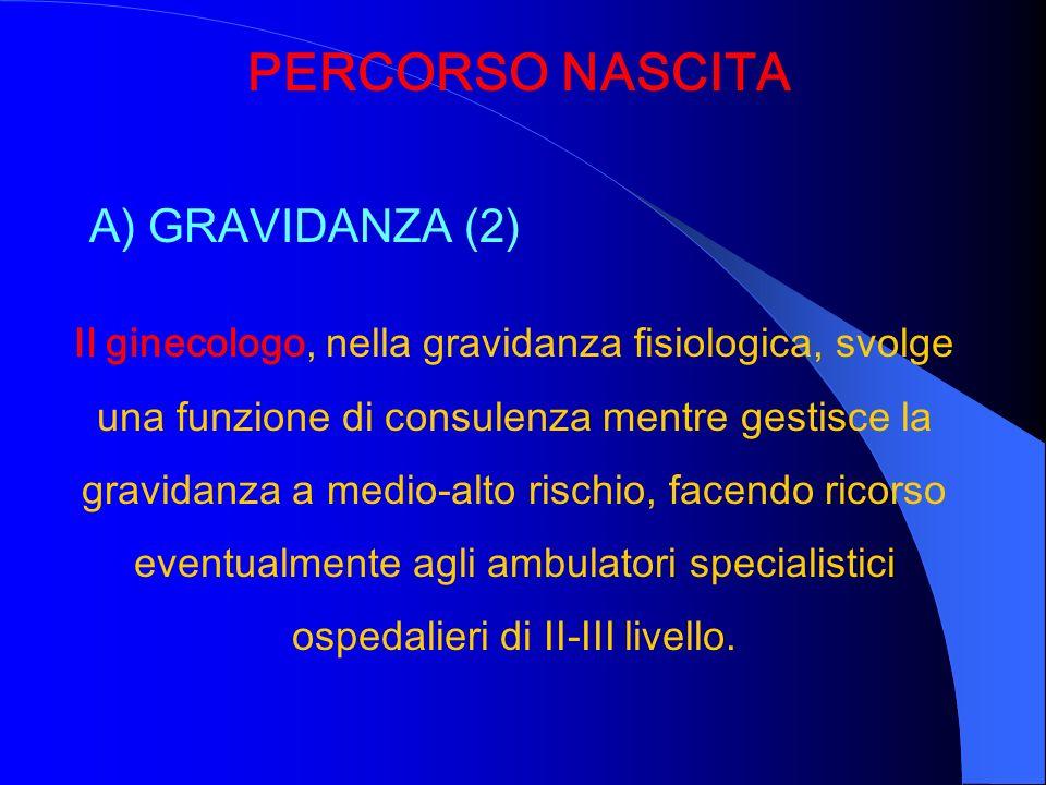 PERCORSO NASCITA A) GRAVIDANZA (2) Il ginecologo, nella gravidanza fisiologica, svolge una funzione di consulenza mentre gestisce la gravidanza a medi