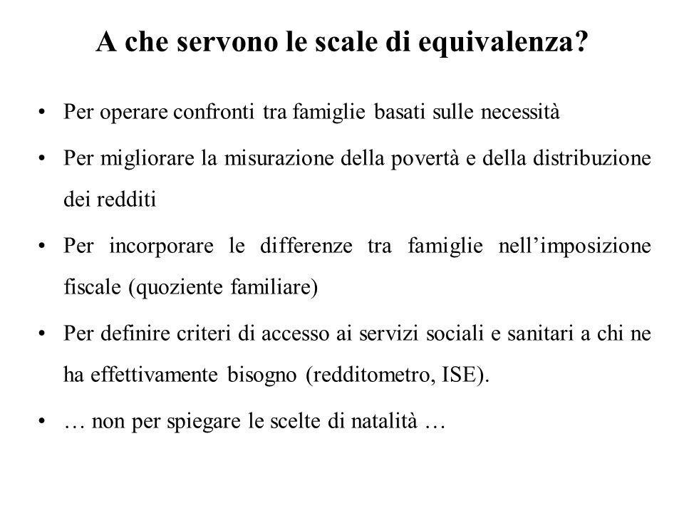 A che servono le scale di equivalenza? Per operare confronti tra famiglie basati sulle necessità Per migliorare la misurazione della povertà e della d
