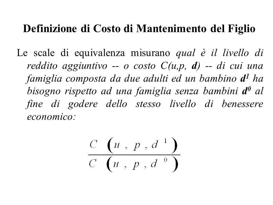 Definizione di Costo di Mantenimento del Figlio Le scale di equivalenza misurano qual è il livello di reddito aggiuntivo -- o costo C(u,p, d) -- di cu