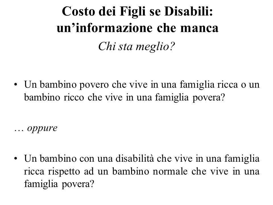 Costo dei Figli se Disabili: uninformazione che manca Chi sta meglio? Un bambino povero che vive in una famiglia ricca o un bambino ricco che vive in