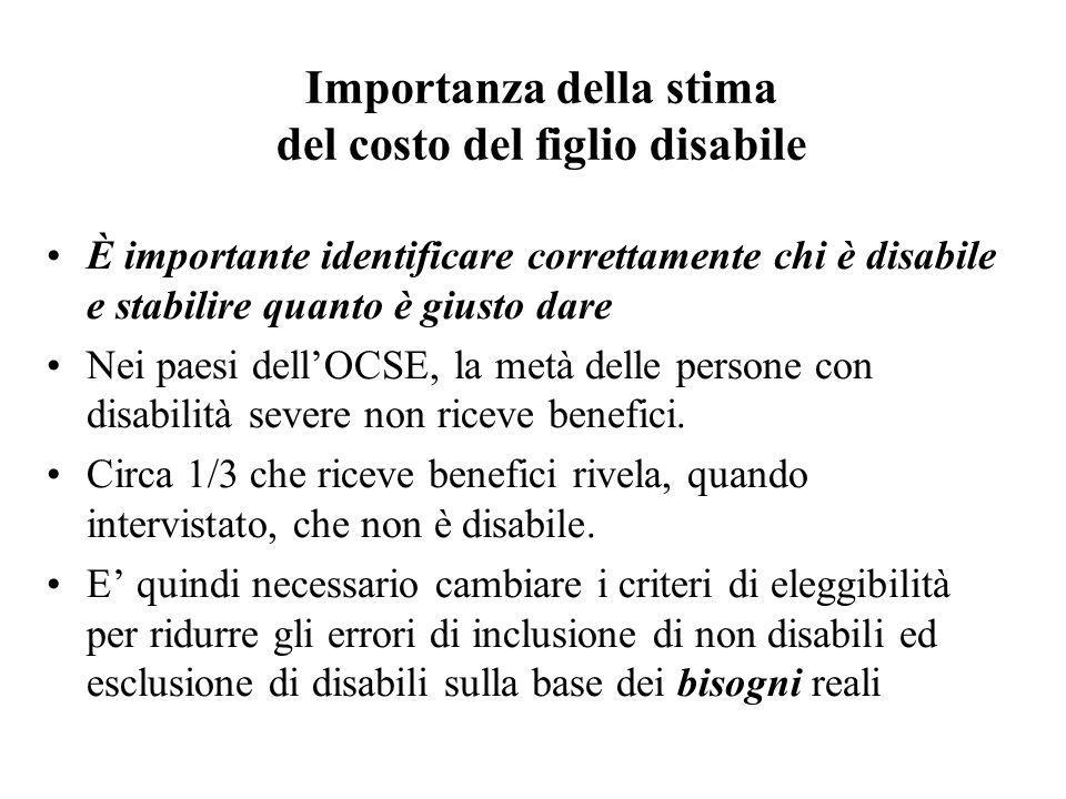 Importanza della stima del costo del figlio disabile È importante identificare correttamente chi è disabile e stabilire quanto è giusto dare Nei paesi