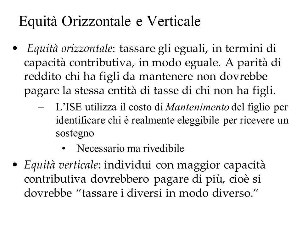 Equità Orizzontale e Verticale Equità orizzontale: tassare gli eguali, in termini di capacità contributiva, in modo eguale. A parità di reddito chi ha