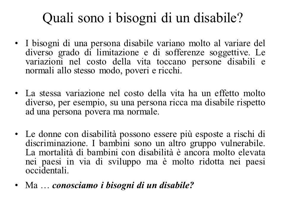 Quali sono i bisogni di un disabile? I bisogni di una persona disabile variano molto al variare del diverso grado di limitazione e di sofferenze sogge