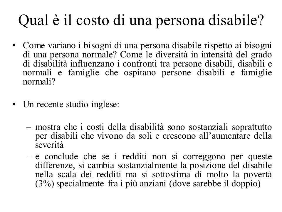Qual è il costo di una persona disabile? Come variano i bisogni di una persona disabile rispetto ai bisogni di una persona normale? Come le diversità