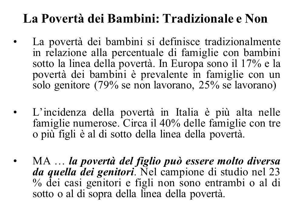 La Povertà dei Bambini: Tradizionale e Non La povertà dei bambini si definisce tradizionalmente in relazione alla percentuale di famiglie con bambini