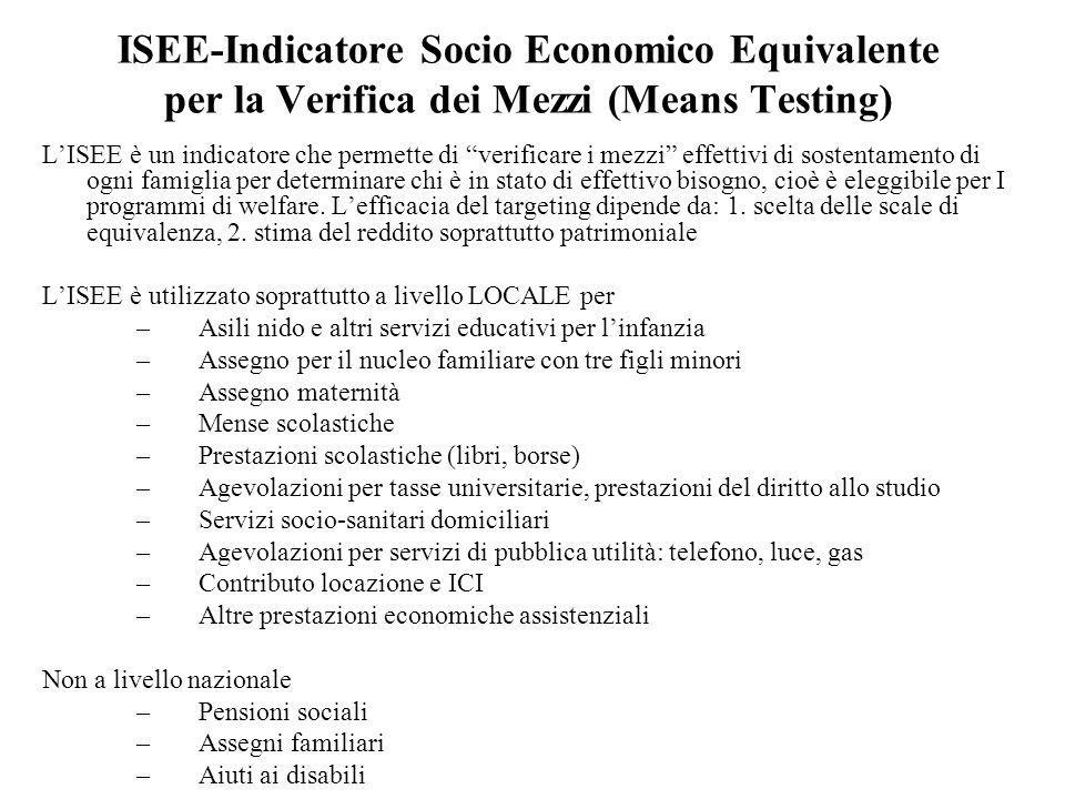 ISEE-Indicatore Socio Economico Equivalente per la Verifica dei Mezzi (Means Testing) LISEE è un indicatore che permette di verificare i mezzi effetti