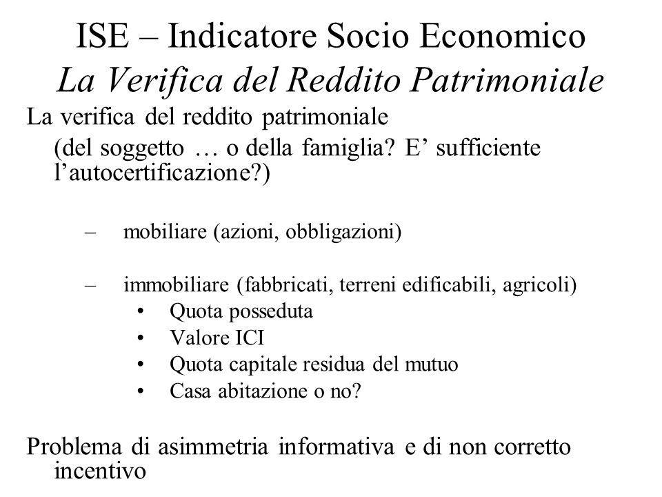 ISE – Indicatore Socio Economico La Verifica del Reddito Patrimoniale La verifica del reddito patrimoniale (del soggetto … o della famiglia? E suffici