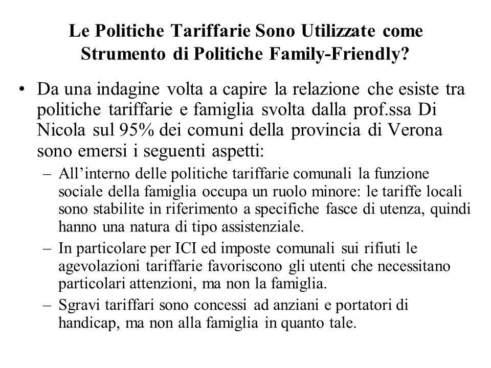 Le Politiche Tariffarie Sono Utilizzate come Strumento di Politiche Family-Friendly? Da una indagine volta a capire la relazione che esiste tra politi