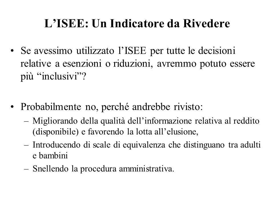 LISEE: Un Indicatore da Rivedere Se avessimo utilizzato lISEE per tutte le decisioni relative a esenzioni o riduzioni, avremmo potuto essere più inclu