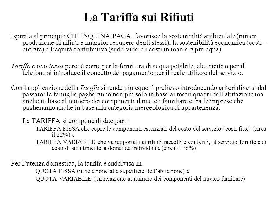 La Tariffa sui Rifiuti Ispirata al principio CHI INQUINA PAGA, favorisce la sostenibilità ambientale (minor produzione di rifiuti e maggior recupero d