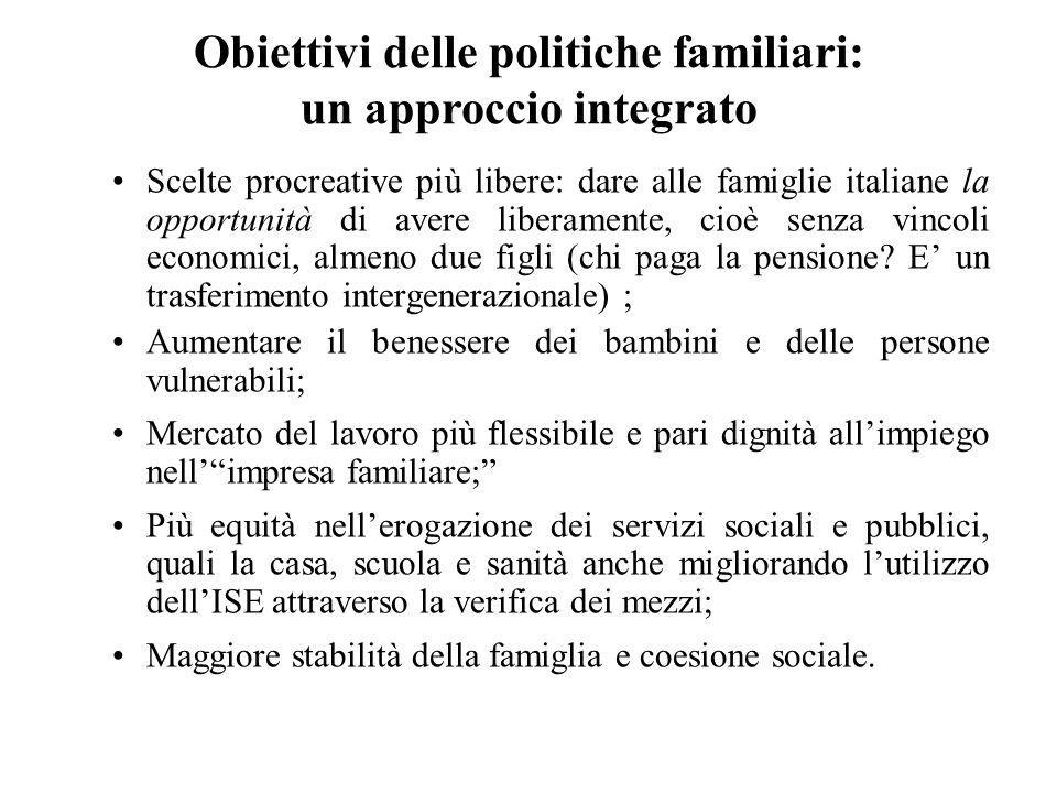 Scelte procreative più libere: dare alle famiglie italiane la opportunità di avere liberamente, cioè senza vincoli economici, almeno due figli (chi pa