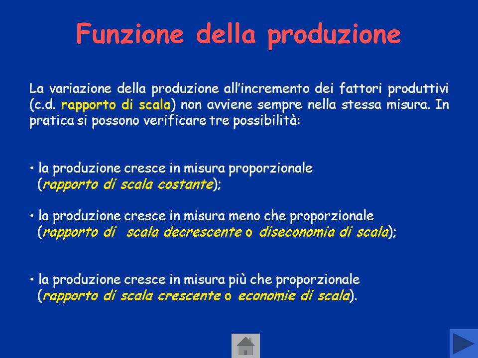 Funzione della produzione La funzione della produzione esprime il rapporto tra la quantità dei fattori impiegati (input) e il prodotto ottenuto (output) Y= f (X1,X2….Xn) Obiettivo dellimprenditore: allocare in modo efficiente le risorse disponibili scarse, in modo da massimizzare il livello di output per ogni livello di input